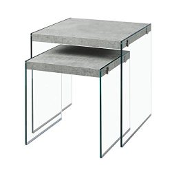 Monarch Specialties I 3231,Nesting Table, Tempered Glass, Grey Cement
