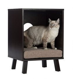 Paws & Purrs Pet Bed and End Table, Espresso/Sand