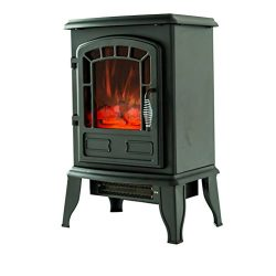 FLAMEandSHADE Electric Fireplace Stove Heater, Small Portable Fireplace Space Heater, with Therm ...