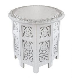 Cotton Craft – Jaipur Solid Wood Handcrafted Carved Folding Accent Coffee Table – An ...