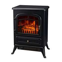HomCom 16″ 1500W Free Standing Electric Wood Stove Fireplace Heater – Black