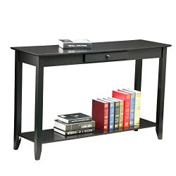 Yaheetech 2 Tiers Concepts Wood Console Table with Drawer and Shelf Living Room Entryway Furnitu ...