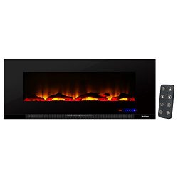 Livingston Ultra-slim LED Wall Mount Electric Fireplace by e-Flame USA – 50-inches Wide – Featur ...