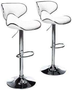 Roundhill Furniture Masaccio Cushioned White Leatherette Upholstery Airlift Swivel Barstool (Set ...
