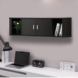 Topeakmart Wall Mounted Floating Media Storage Cabinet Hanging Desk Hutch 2 Door & Compartme ...