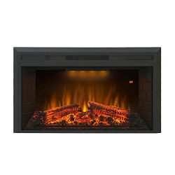 Valuxhome Houselux 36″ 750W/1500W, Embedded Fireplace Electric Insert Heater, Fire Crackle ...