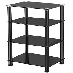 Yaheetech 4 Tier Media Audio AV Component Hi-Fi Stand Tempered Glass Stand, Black