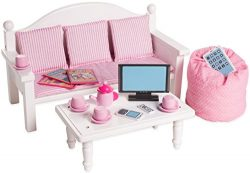18 Inch Doll Furniture Sofa & Coffee Table Set w/ Accessories – Playtime by Eimmie Col ...