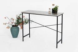 Weathered Grey Oak / Black Metal Frame Contemporary Console Sofa Table Desk