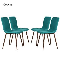 Set of 4 Dining Chairs Coavas Fabric Cushion Kitchen Chairs with Sturdy Metal Legs for Dining Ro ...