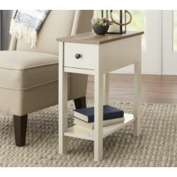 Laurel Accent Wooden Table With Under Storage Shelf and Drawer With Metal Knob, Ivory