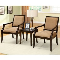 Boudry Transitional Style Espresso Finish Accent Chair and Table Set