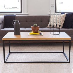 Solid Wood Coffee Table – Modern Industrial Space Saving Couch Living Room Furniture ̵ ...