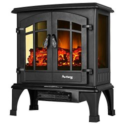 Jasper Portable Free Standing Electric Fireplace Stove by e-Flame USA – 23-inches Tall – Matte B ...