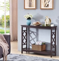 Espresso Finish 2-Tier Quatrefoil Design Occasional Console Sofa Table Bookshelf