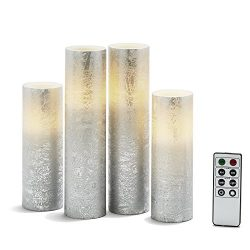 4 Silver Slim Flameless Pillar Candles with Warm White LEDs, Textured Finish, Batteries & Re ...