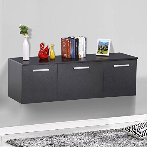 Topeakmart Wall Mount Floating Media Storage Cabinet