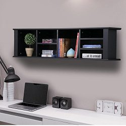Topeakmart Wall Mounted Hanging Desk Hutch Floating Media Storage Cabinet w/7 Storage Compartmen ...