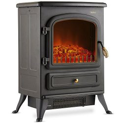 VonHaus Electric Fireplace Stove Heater Portable Free Standing with Log Wood Burning Flame Effec ...