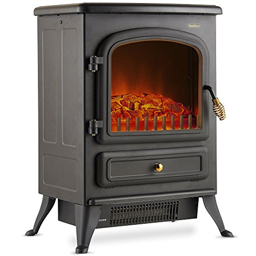 Vonhaus Electric Fireplace Stove Heater Portable Free Standing With Log Wood Burning Flame