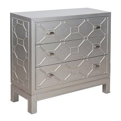Madison Park Fleming 3 Drawer Chest Metallic See below