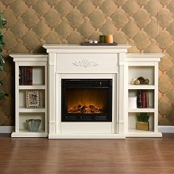 Beautiful White Ivory Hardwood Fireplace / Mantle Electric W/ Remote & Book Shelves Carved D ...