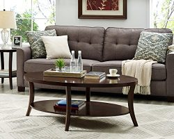 Roundhill Furniture OC0020 Perth Contemporary Oval Shelf, Coffee Table, Espresso