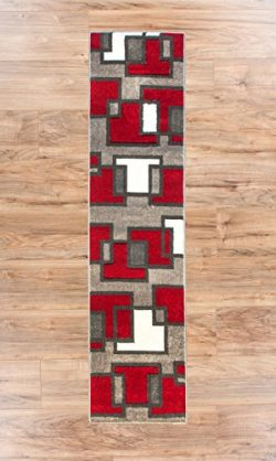 Uptown Squares Red & Grey Modern Geometric Comfy Casual Hand Carved Runner Rug 2×7 ( 2& ...