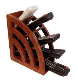 xmas present, Wooden Remote Stand, TV Remote Organizer, Remote Control Holder, A/c TV Remote Hol ...