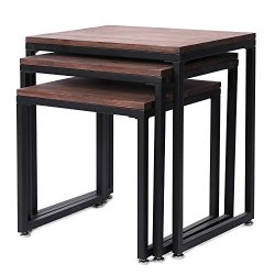 Set of 3 Rustic Barnwood Gray Nesting End Tables with Black Metal Frames
