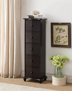 Kings Brand Furniture Dark Cherry Finish Wood 5 Drawer Accent Cabinet Chest