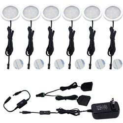 Aiboo Under Cabinet LED Puck Lights Kit with Touching Dimming Switch for Ambiance Atmosphere Nig ...