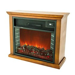 FLAME&SHADE Electric Fireplace with Mantel TV Stand, Small Portable Fireplace Wood Stove Spa ...