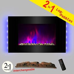 AKDY® 36″ LED Wall Mount Electric Fireplace Modern Space Heater Flat Tempered Glass w/Remo ...