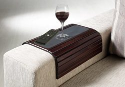 Kleeger Sofa Arm Tray Table: Wood Side Table Tray| Flexible, Portable & Folding Couch Drink  ...