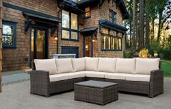 Courtyard Casual Brown Rooftop Outdoor Sofa Sectional with Cushions and Coffee Table