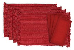DII Tonal Fringe Linen Set, 4 Placemats & 4 Napkins, Tango Red – Perfect for Fall, Din ...