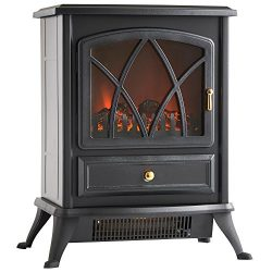 VonHaus Free Standing Electric Stove Heater Portable Home Fireplace with Log Burning Flame Effec ...