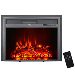 "HollyHOME 23"" Embedded Electric Fireplace, Firebox Heater with Remote Control and LED Flam ..."