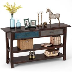 Tribesigns 59″ Rustic Style Solid Wood Sofa Console Table Hall Console Table with Drawers  ...