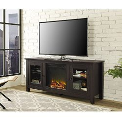 WE Furniture 58″ Wood Fireplace TV Stand Console, Espresso
