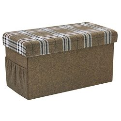 Large Square Folding Storage Ottoman bench Coffee Table,Foot Rest Seat,Yarn-Dyed Fabric,Brown HStex
