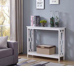 White Finish 2-Tier Square Design Occasional Console Sofa Table Bookshelf