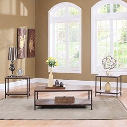 Modern Rectangular Coffee Table with 2 End Tables Living Room Set (3PC Set in Brown)