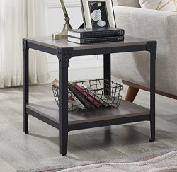 WE Furniture Angle Iron Wood End Tables in Grey Wash – Set of 2