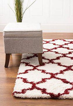White & Red Shag Rug Trellis Lattice Geometric 8×10 [7′ 10″ X 9′ 10&# ...
