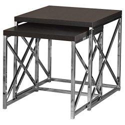 Monarch Specialties I 3271, Nesting Table, Chrome Metal, Cappuccino, Table Set, 2 pcs