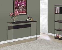 Monarch specialties I 3282, Console Sofa Table, Tempered Glass, Cappuccino, 44″L