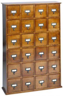 Leslie Dame CD-456W Solid Oak Library Card File Media Cabinet, 24 Drawers, Walnut
