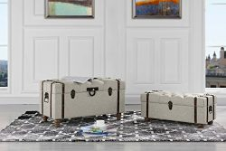 2-Piece Classic Tufted Linen Fabric Storage Chests / Accent Table / Bench (Beige)